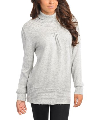 Gray Knit Turtleneck Sweater - Women