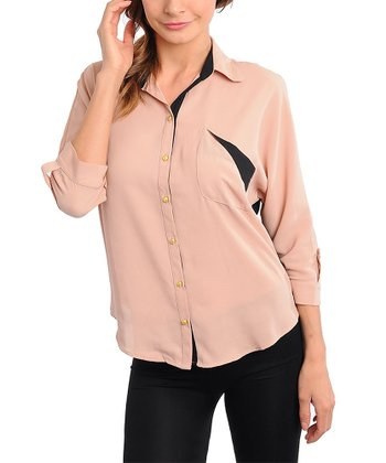 Peach & Black Color Block Button-Up