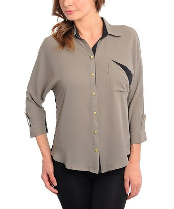 Olive & Black Color Block Button-Up