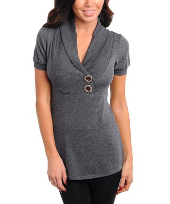 Charcoal Ribbed Overlap Collar Short-Sleeve Top