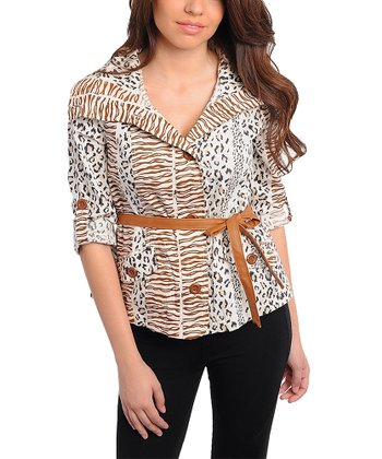 Ivory & Brown Safari Belted Button-Up