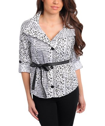 White & Gray Safari Belted Button-Up