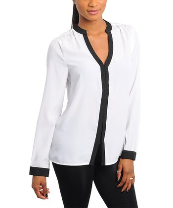 White & Black Shirred Shoulder Long-Sleeve Top