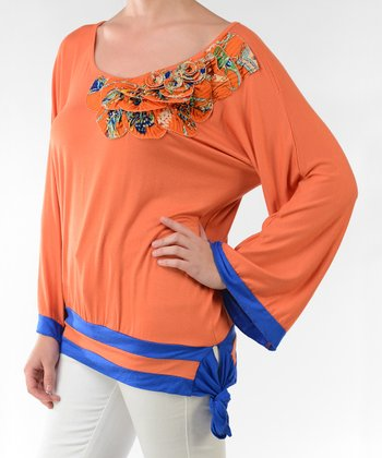 Orange & Blue Flower Accent Side-Tie Top