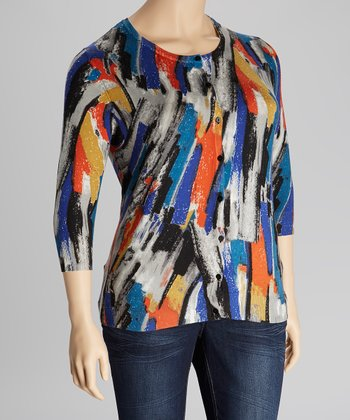 Teal & Red Brushstroke Three-Quarter Sleeve Cardigan - Plus