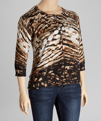 Black & Brown Tiger Three-Quarter Sleeve Cardigan - Plus