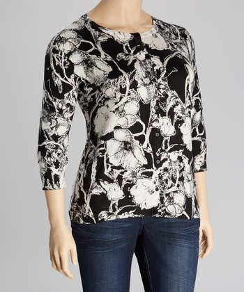 Black & White Floral Three-Quarter Sleeve Cardigan - Plus