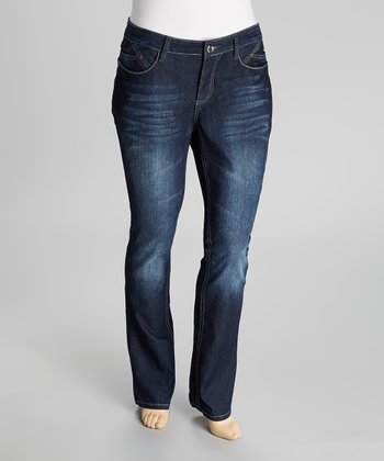 Deep Blue Rhinestone Tummy Tuck Mid-Rise Straight-Leg Jeans - Plus