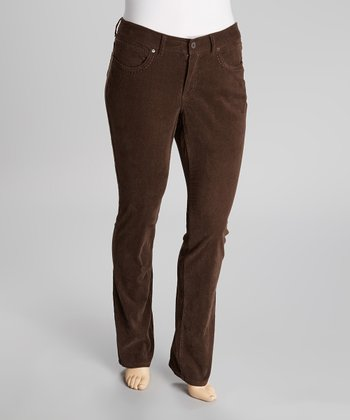 Brown Corduroy Straight-Leg Pants - Plus