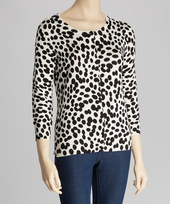 Black & White Polka Dot Three-Quarter Sleeve Cardigan - Petite