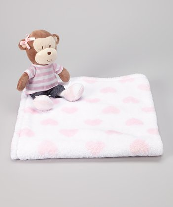 Pink & White Heart Stroller Blanket & Monkey Plush Toy
