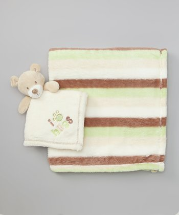 Cream & Green Stripe Plush Pal Blanket Set