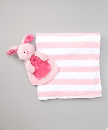 Pink Stripe Stroller Blanket & Bunny Plush Toy