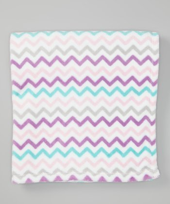 Purple Zigzag Plush Stroller Blanket