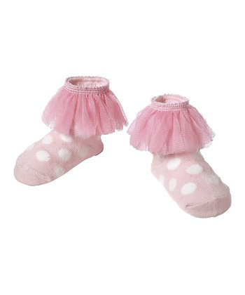 Pink Polka Dot Lace Ruffle Socks