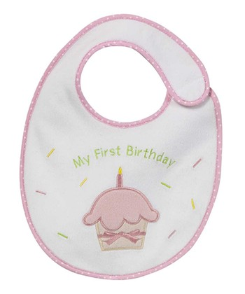 Pink 'My First Birthday' Cupcake Bib