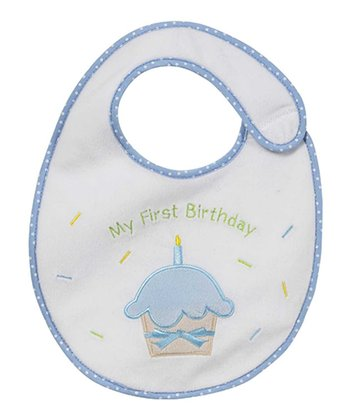 Blue 'My First Birthday' Cupcake Bib