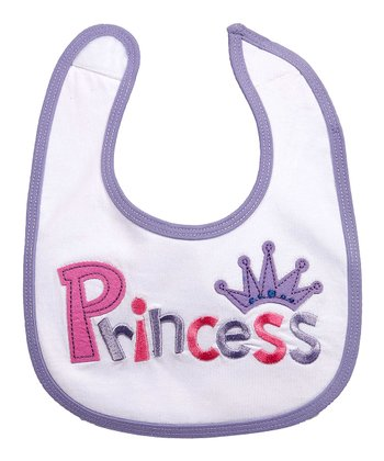 White & Purple 'Princess' Bib
