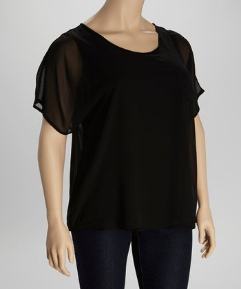 Black Chiffon Scoop Neck Top - Plus