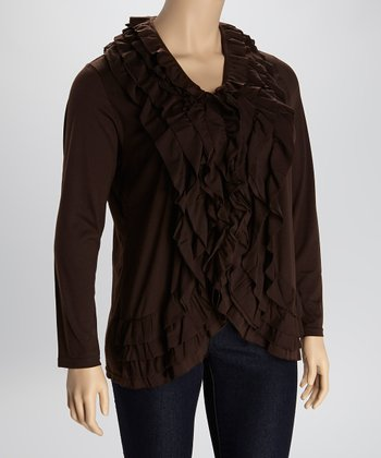 Potting Soil Ruffled Open Cardigan - Plus