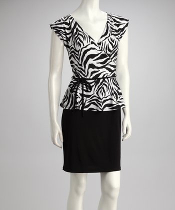 Black & White Zebra Belted Peplum Dress