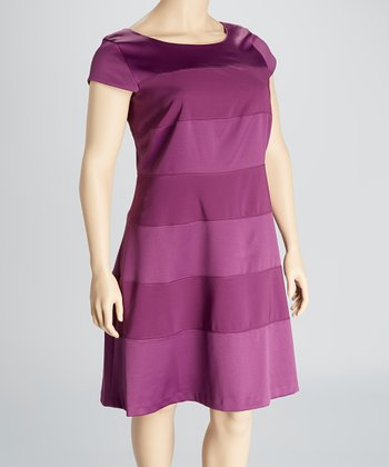 Grape Stripe Cap-Sleeve Dress - Plus