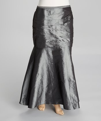 Charcoal Gray Tafetta Skirt - Plus