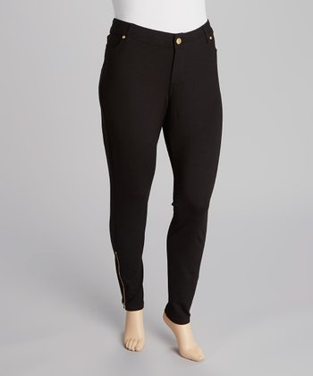 Black Ponte Zipper Pants - Plus