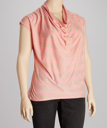Blush Cowl Neck Sparkle Top - Plus