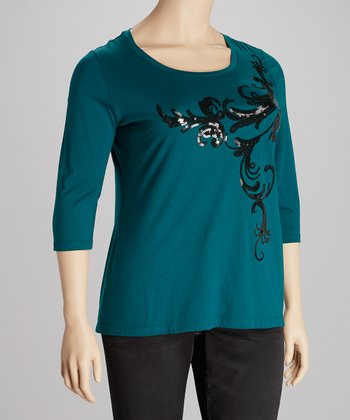 Dark Teal Sequin V-Neck Top - Plus