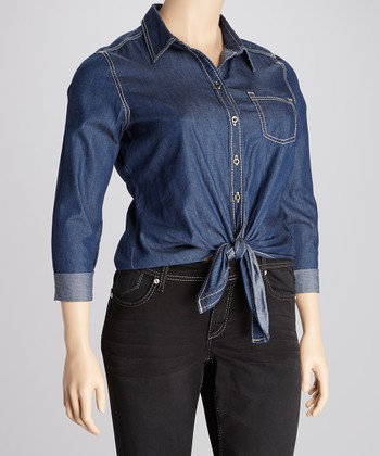 Dark Blue Tie-Front Button-Up - Plus