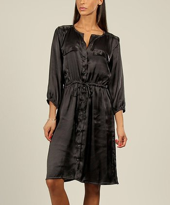 Black Satin Shirt Dress