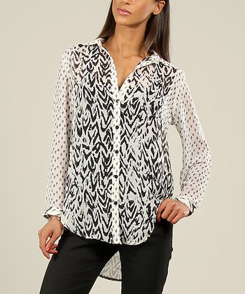 Black & White Abstract Button-Up