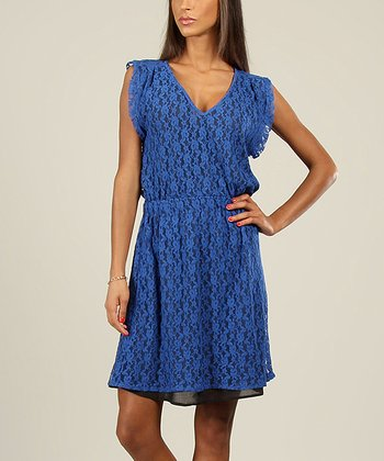 Blue Lace V-Neck Dress