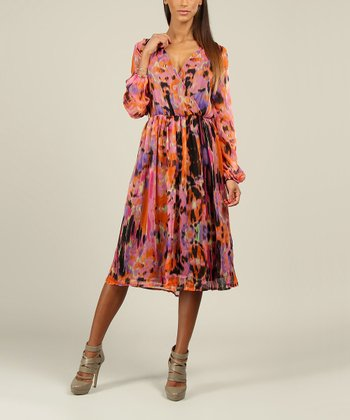 Pink Abstract Floral Surplice Dress