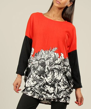 Red & Black Filigree Floral Top