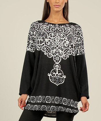 Black & White Filigree Top