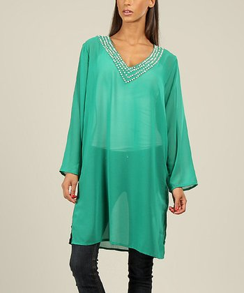 Green Sequin V-Neck Tunic