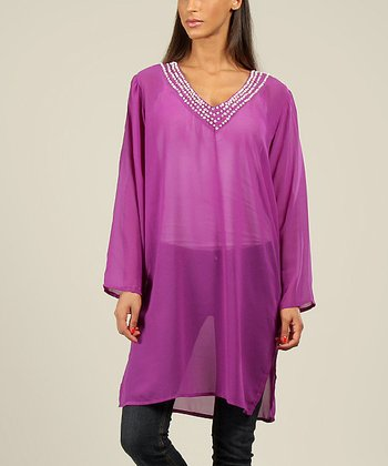 Purple Sequin V-Neck Tunic