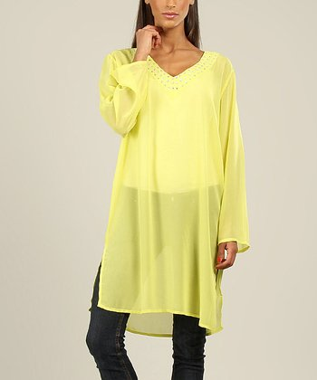 Lime Round Sequin V-Neck Tunic