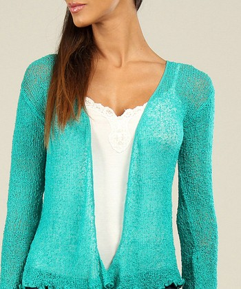 Teal Textured Ruffle Open Cardigan