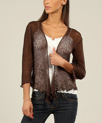 Brown Textured Ruffle Open Cardigan