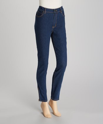 Indigo Zipper Jeggings