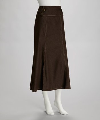 Brown Sailor Midi Skirt