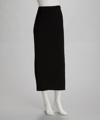 Black Buckle Midi Skirt
