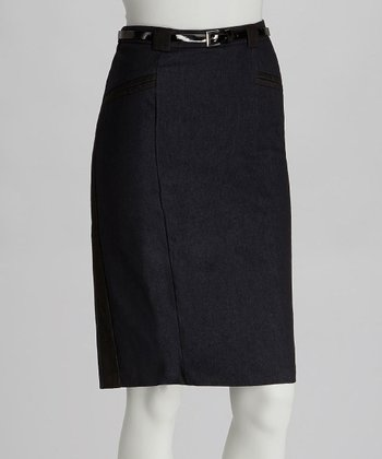 Dark Navy Belted Pencil Skirt
