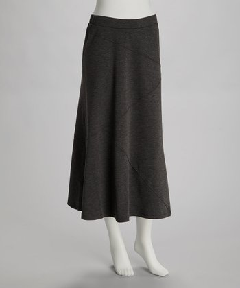 Charcoal Gray Seamed Midi Skirt