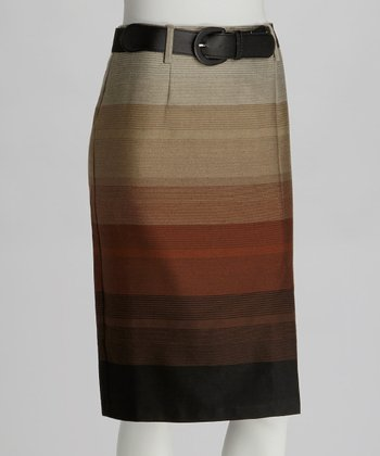 Brown & Tan Stripe Belted Pencil Skirt