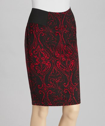 Black & Red Ponte Skirt