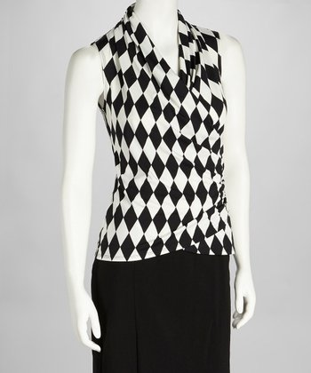 Black & White Harlequin Surplice Sleeveless Top